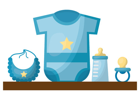 baby shower gifts boy clothes bottle bib pacifier vector illustration Иллюстрация