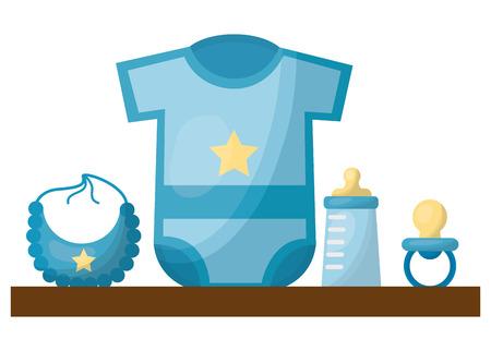 baby shower gifts boy clothes bottle bib pacifier vector illustration Illustration