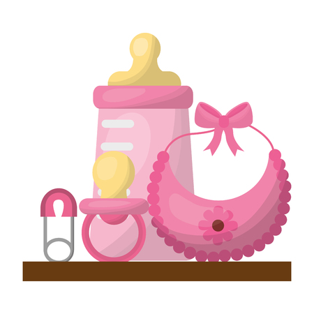 baby shower gifts girl bottle bib pacifier safety pin vector illustration