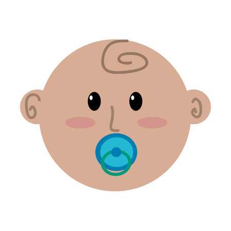 cute face newborn boy baby with pacifier vector illustration
