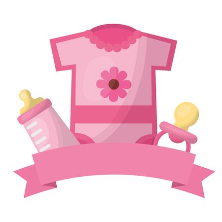 Lindo bebé ducha niña ropa chupete y botella cinta decoración ilustración vectorial Ilustración de vector