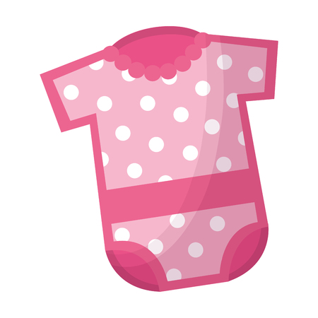cute pink clothes with flower girl baby shower vector illustration