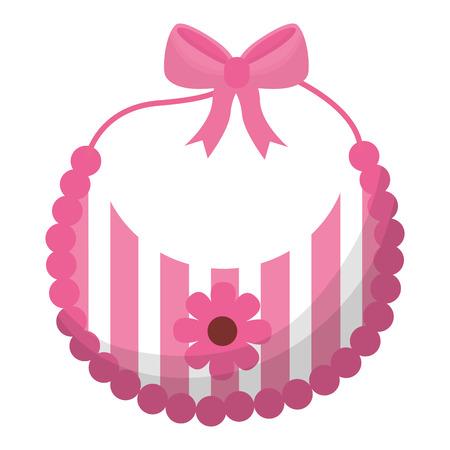 baby shower card gilr bib flower dcoration vector illustration Illustration