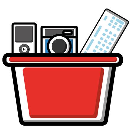 소셜 미디어 빨간 쇼핑 바구니 카메라 mp3 음악 벡터 일러스트 레이션