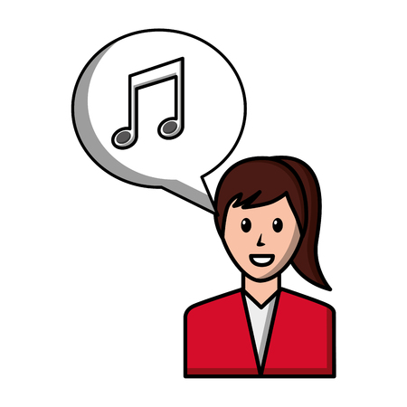 woman character note music in speech bubble social media vector illustration Illustration