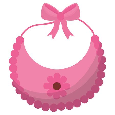 pink flower bib girl baby shower vector illustration Illustration