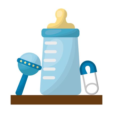 baby shower boy bottle milk and rattle safety pin vector illustration Ilustração