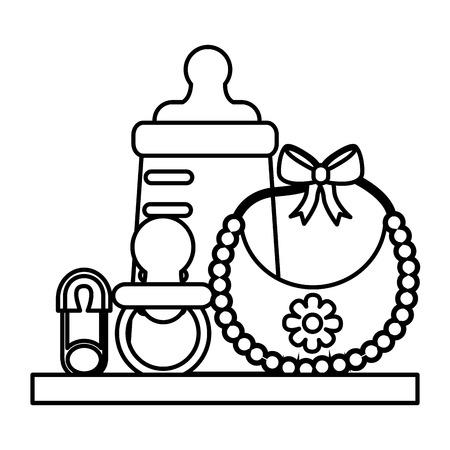 baby shower gifts girl bottle bib pacifier safety pin vector illustration outline Vettoriali