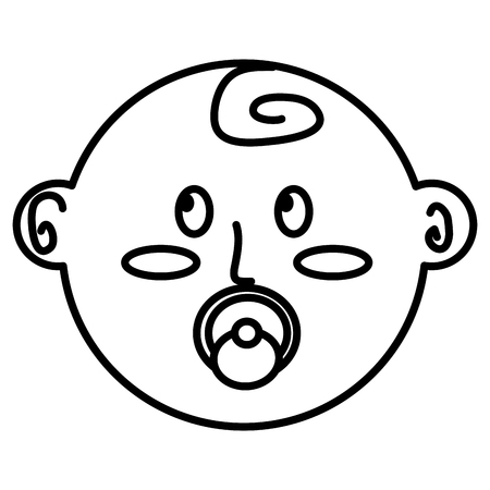 cute face newborn boy baby with pacifier vector illustration outline
