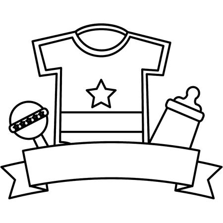 Baby shower boy ropa sonajero y botella de leche esquema de ilustración vectorial