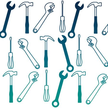 set tools collection pattern background vector illustration design Imagens - 99584822