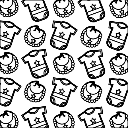 boy baby shower gifts clothes and bib pattern vector illustration outline