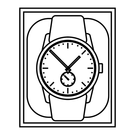 Wrist watch in case gift image vector illustration outline Stock Vector - 99613451