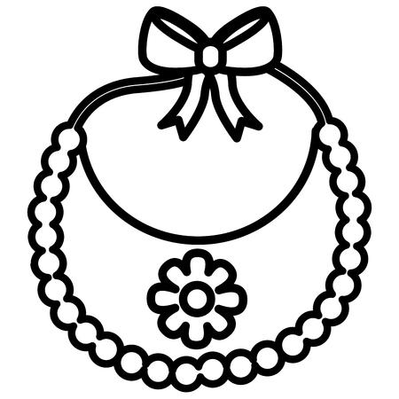 flower bib girl baby shower vector illustration outline