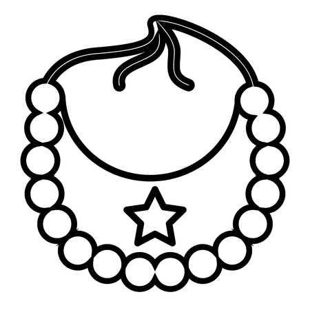 star bib boy baby shower vector illustration outline