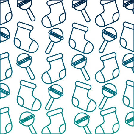 baby rattles and socks pattern vector illustration design