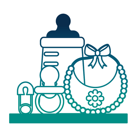 shelf with set baby accessories vector illustration design
