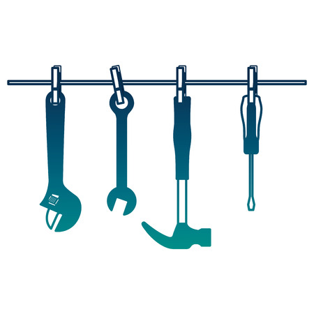 set tools hanging icons vector illustration design Illustration