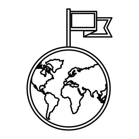 world planet earth with flag location mark vector illustration design