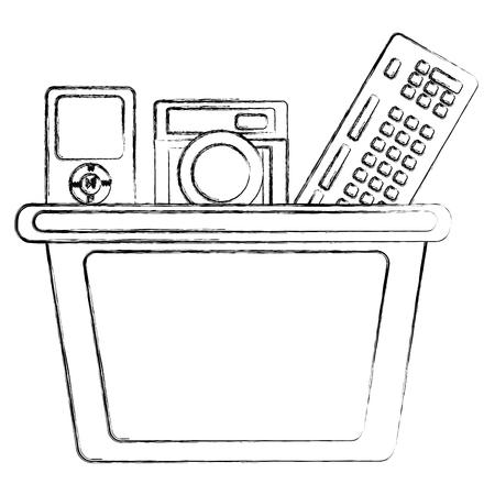 소셜 미디어 쇼핑 바구니 카메라 mp3 음악 벡터 일러스트 스케치 스톡 콘텐츠 - 99586825
