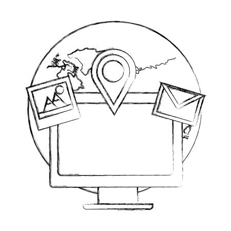 social media world computer photo email navigation pin vector illustration sketch