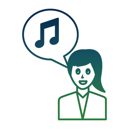 woman character note music in speech bubble social media vector illustration gradient color Illustration
