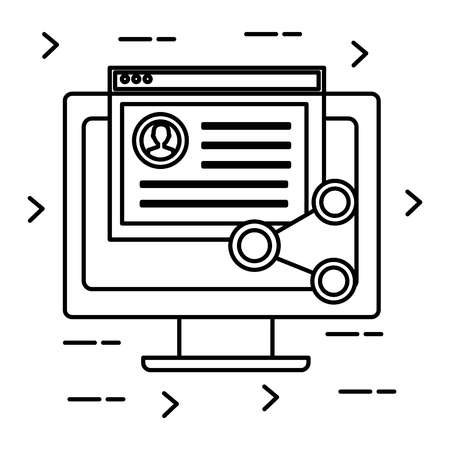 Monitor computer with social media icons vector illustration design.