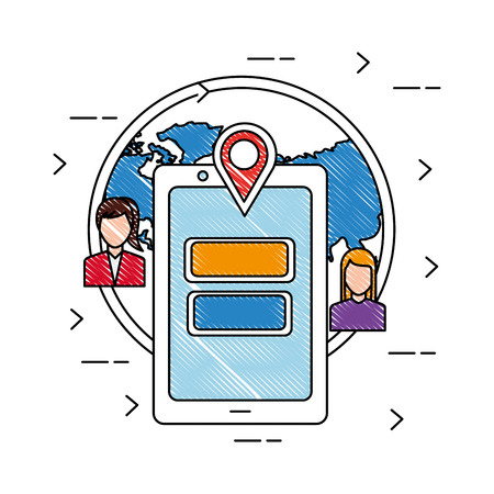 World people social media smartphone location vector illustration drawing.