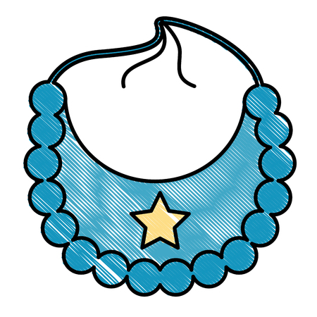 Blue star bib boy baby shower vector illustration drawing.