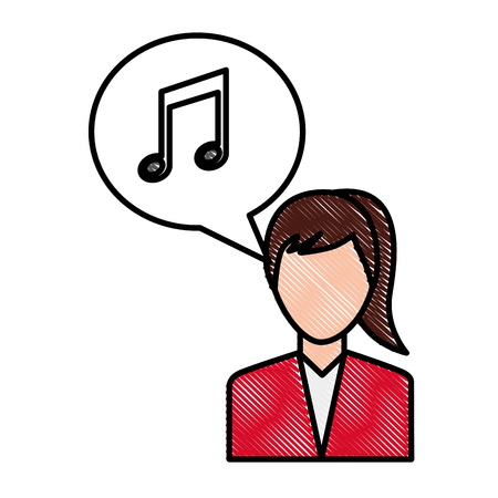 woman character note music in speech bubble social media vector illustration drawing Illustration