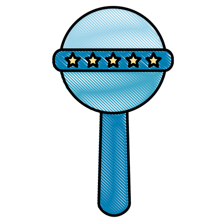 blue baby rattle handle star decoration vector illustration drawing