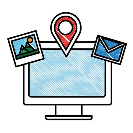 computer photo email navigation pin social media vector illustration drawing Illustration