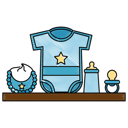 baby shower gifts boy clothes bottle bib pacifier vector illustration drawing Illustration