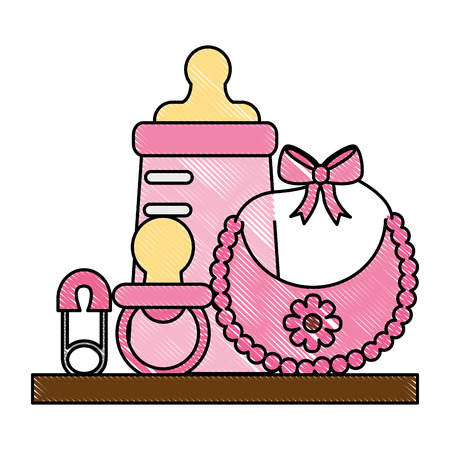 baby shower gifts girl bottle bib pacifier safety pin vector illustration drawing Illustration