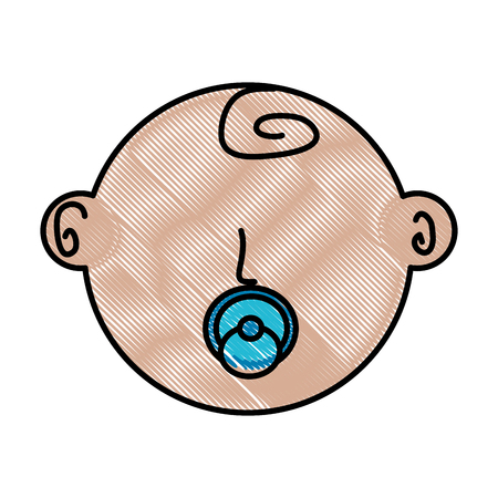 cute face newborn boy baby with pacifier vector illustration drawing