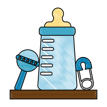 baby shower boy bottle milk and rattle safety pin vector illustration drawing Illustration