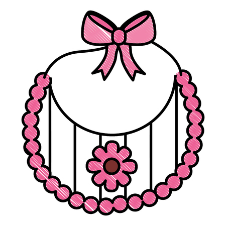 baby shower card girl bib flower decoration vector illustration drawing Illustration