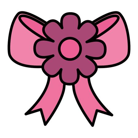 Bogen Band mit Blume Symbol Vektor Illustration design Standard-Bild - 99596381