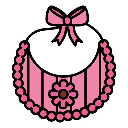 bib baby girl with bow and flower vector illustration design Vectores