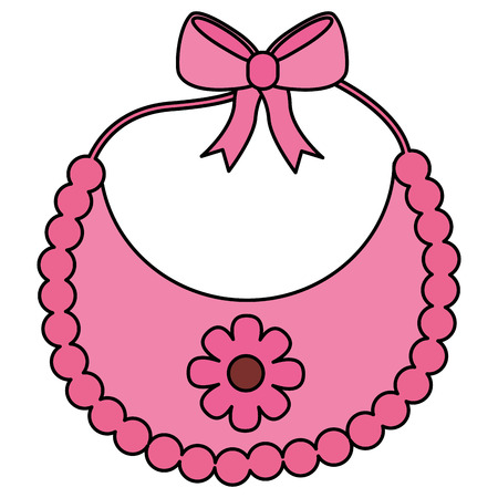 bib baby girl with bow and flower vector illustration design Illustration