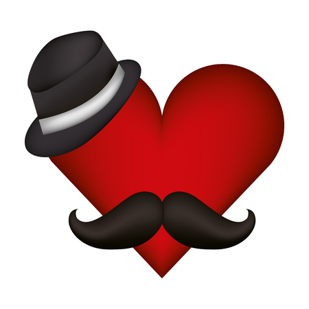 heart with hat and mustache vector illustration design