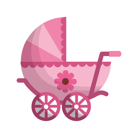 baby cart girl isolated icon vector illustration design