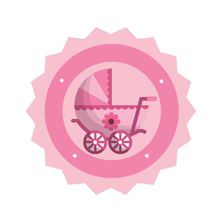 baby cart girl with lace vector illustration design
