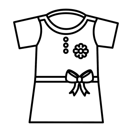 dress girl with belt and bow icon vector illustration design