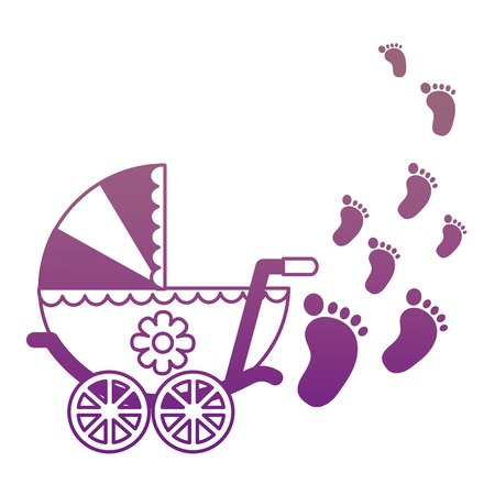 baby cart girl with footprint vector illustration design