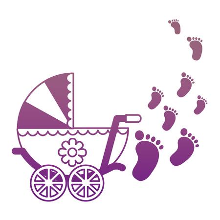 baby cart girl with footprint vector illustration design