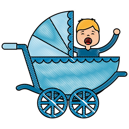 baby cart with boy crying vector illustration design