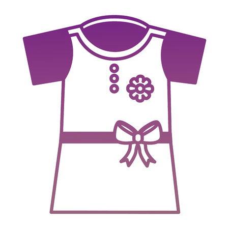 Girl dress with belt and bow icon vector illustration design.