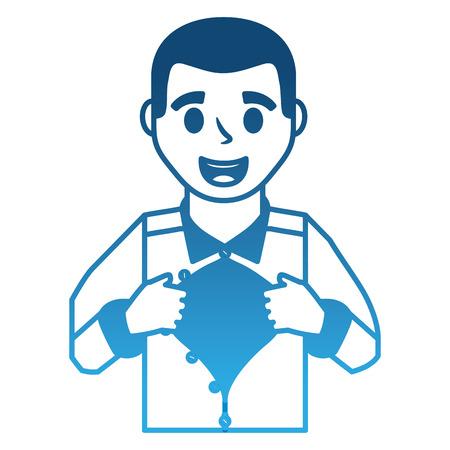 father hero open shirt vector illustration design