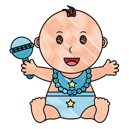 baby boy with diaper and jingle bell in hand vector illustration design